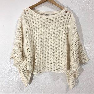 Converse Crochet Blouse Open Knit Cream Top